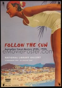 6g217 FOLLOW THE SUN 23x33 Australian museum/art exhibition 1999 Northfield art, travel poster exhibition!