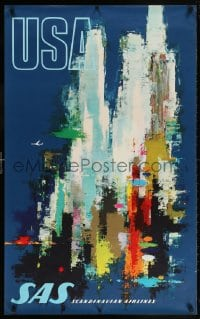 6g149 SAS USA 25x39 Danish travel poster 1960s abstract Otto Nielson art of a city, ultra-rare!