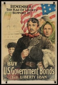 6g003 BUY U.S. GOVERNMENT BONDS 3RD LIBERTY LOAN 20x30 WWI war poster 1917 cool patriotic artwork!