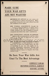 6g004 MAKE SURE YOUR WAR GIFTS ARE NOT WASTED 14x22 WWI war poster 1940s use them to best advantage!