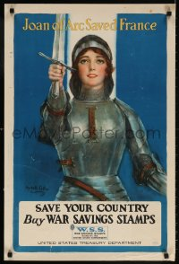 6g002 SAVE YOUR COUNTRY BUY WAR SAVINGS STAMPS 20x30 WWI war poster 1918 Coffin art of Joan of Arc!
