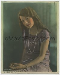 6h045 ALICE CALHOUN color deluxe 8x10 still 1920s portrait in pearl necklace by C. Heighton Monroe!