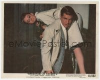 6h052 BREAKFAST AT TIFFANY'S color 8x10 still 1961 Peppard carries Audrey Hepburn over his shoulder!