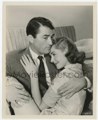 6h266 DESIGNING WOMAN 8x10 still 1957 Lauren Bacall is happy to be held in Gregory Peck's arms!