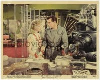 6h056 FORBIDDEN PLANET color 8x10 still #9 1956 c/u of Anne Francis, Jack Kelly & Robby the Robot!