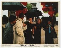 6h057 FUNNY FACE color 8x10 still 1957 beautiful Audrey Hepburn under umbrella smiling at Astaire!