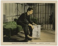 6h058 GANGSTER'S BOY color-glos 8x10 still 1938 c/u of Jackie Cooper holding newspaper in jail cell!