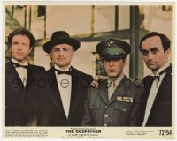 6h059 GODFATHER color 8x10 still 1972 portrait of Marlon Brando, Al Pacino, James Caan & John Cazale!