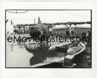 6h006 JAWS deluxe candid 8x10 file photo 1975 welder repairing mechanical shark Bruce in pool!