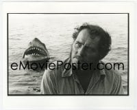 6h003 JAWS deluxe candid 8x10 file photo 1975 intense Robert Shaw with Bruce emerging behind him!
