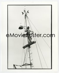 6h007 JAWS deluxe candid 8x10 file photo 1975 Roy Scheider in skimpy swimsuit getting sun on mast!