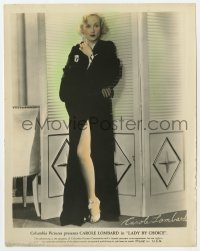 6h064 LADY BY CHOICE color 8x10.25 still 1934 full-length Carole Lombard showing her sexy leg!