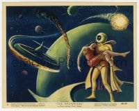 6h067 MYSTERIANS color 8x10 still #6 1959 art of alien carrying girl in space by Lt. Col. Rigg!