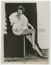 6h785 ROCHELLE HUDSON 7x9 news photo 1933 sexy full-length portrait totally naked under fox furs!