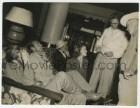 6h964 WESTERNER candid 7.5x9.75 still 1940 Gary Cooper, William Wyler & others at hotel by Coburn!