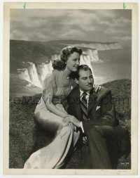 6h975 WHITE CLIFFS OF DOVER 8x10.25 still 1944 Irene Dunne & Alan Marshal over beautiful landscape!