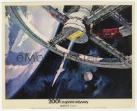 6h016 2001: A SPACE ODYSSEY Cinerama color English FOH LC 1968 Bob McCall art of space wheel!