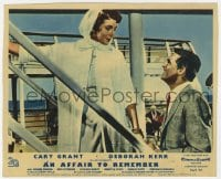 6h019 AFFAIR TO REMEMBER color English FOH LC 1957 c/u of Cary Grant smiling at Deborah Kerr!
