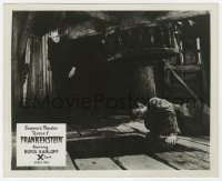 6h036 FRANKENSTEIN English FOH LC R1957 great image of Boris Karloff as the monster w/ Colin Clive!