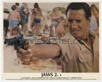 6h022 JAWS 2 color English FOH LC 1978 close up of Roy Scheider pointing gun on the beach!