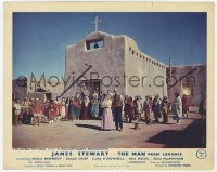 6h026 MAN FROM LARAMIE color English FOH LC 1955 James Stewart & many cast members outside church!