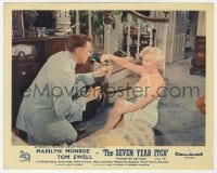 6h028 SEVEN YEAR ITCH color English FOH LC 1955 sexy Marilyn Monroe pours champagne for Tom Ewell!