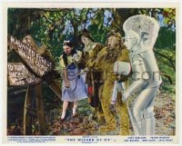 6h011 WIZARD OF OZ color English FOH LC R1955 Dorothy, Scarecrow, Lion & Tin Man by broken sign!