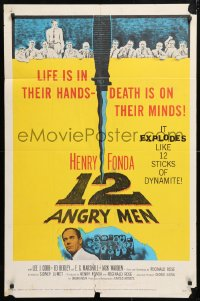 6j001 12 ANGRY MEN 1sh 1957 Henry Fonda, Sidney Lumet jury classic, life is in their hands