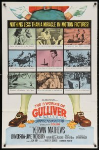 6j002 3 WORLDS OF GULLIVER 1sh 1960 Ray Harryhausen fantasy classic, art of giant Kerwin Mathews!