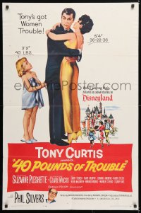 6j009 40 POUNDS OF TROUBLE 1sh 1963 Tony Curtis has women trouble, Suzanne Pleshette!