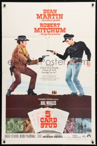 6j003 5 CARD STUD 1sh 1968 Dean Martin & Robert Mitchum play poker & point guns at each other!