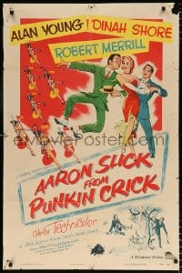 6j014 AARON SLICK FROM PUNKIN CRICK 1sh 1952 Alan Young, Dinah Shore, Robert Merrill, musical art!