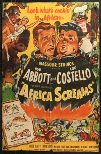 6j018 AFRICA SCREAMS 1sh 1949 art of natives cooking Bud Abbott & Lou Costello in cauldron!