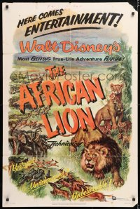 6j019 AFRICAN LION 1sh 1955 Walt Disney jungle safari documentary, cool animal artwork!