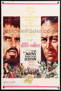 6j020 AGONY & THE ECSTASY roadshow 1sh 1965 Terpning art of Charlton Heston & Rex Harrison!