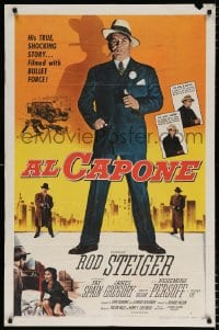 6j021 AL CAPONE 1sh 1959 cool comparison of Rod Steiger to the most notorious gangster, Brown art!