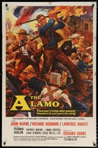 6j022 ALAMO 1sh 1960 Brown art of John Wayne & Richard Widmark in Texas War of Independence!