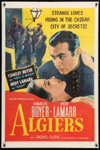 6j024 ALGIERS 1sh R1953 Charles Boyer loves sexiest Hedy Lamarr, but he can't leave the Casbah!