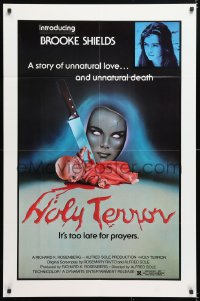 6j025 ALICE SWEET ALICE 1sh R1981 first Brooke Shields, disturbing knife-in-doll photo, Holy Terror!