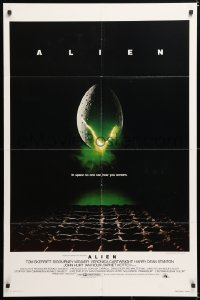6j026 ALIEN int'l 1sh 1979 Ridley Scott outer space sci-fi monster classic, cool egg image!