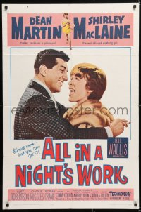 6j029 ALL IN A NIGHT'S WORK 1sh 1961 Dean Martin, sexy Shirley MacLaine wearing only a towel!