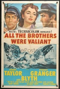 6j030 ALL THE BROTHERS WERE VALIANT 1sh 1953 Robert Taylor, Stewart Granger, whaling artwork!