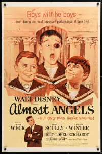 6j032 ALMOST ANGELS 1sh 1962 Disney, boys will be boys, but they're only angels when they're singing!