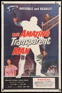 6j035 AMAZING TRANSPARENT MAN 1sh 1959 Edgar Ulmer, cool fx art of the invisible & deadly convict!