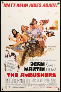 6j036 AMBUSHERS 1sh 1967 art of Dean Martin as Matt Helm with sexy Slaygirls on motorcycle!