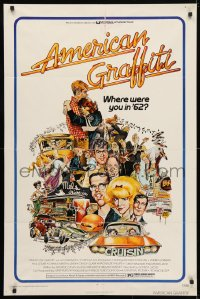 6j037 AMERICAN GRAFFITI 1sh 1973 George Lucas teen classic, Mort Drucker montage art of cast!