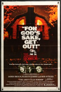 6j040 AMITYVILLE HORROR 1sh 1979 great image of haunted house, for God's sake get out!