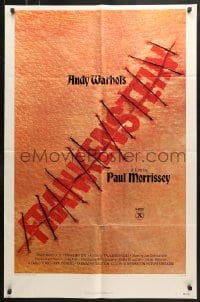 6j043 ANDY WARHOL'S FRANKENSTEIN 2D 1sh 1974 Paul Morrissey, great image of title in stitches!