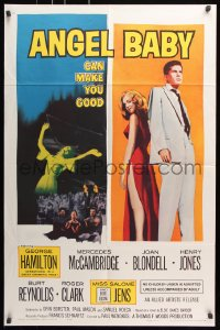 6j044 ANGEL BABY 1sh 1961 full-length George Hamilton standing with sexiest Salome Jens!