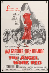6j045 ANGEL WORE RED 1sh 1960 sexy full-length Ava Gardner, Dirk Bogarde has a price on his head!